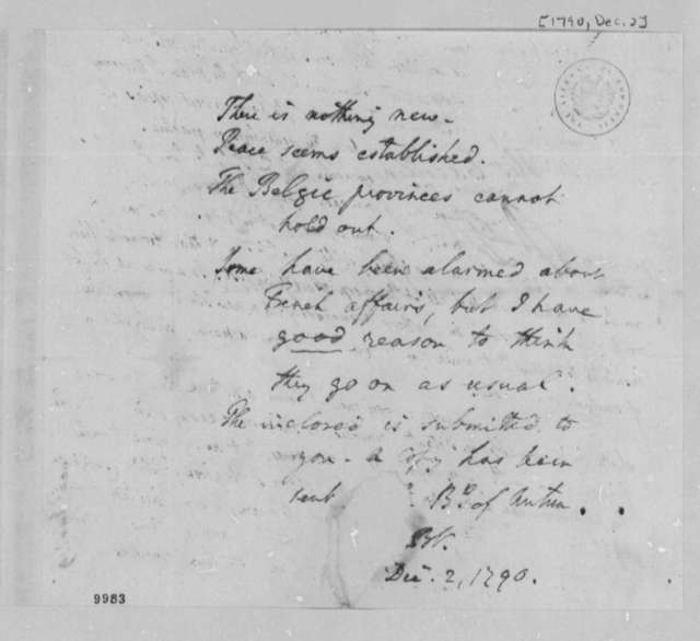 Benjamin Vaughn to Thomas Jefferson, December 2, 1790, and Report