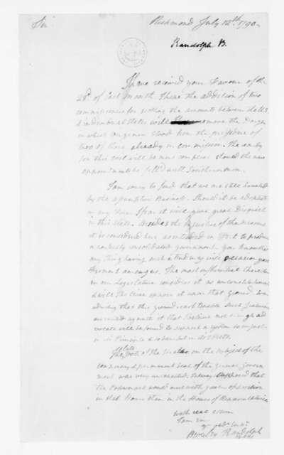 Beverley Randolph to James Madison, July 12, 1790.