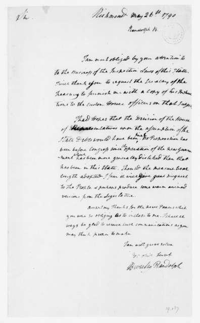 Beverley Randolph to James Madison, May 26, 1790.