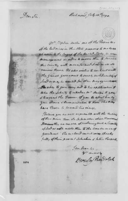 Beverley Randolph to Thomas Jefferson, July 10, 1790