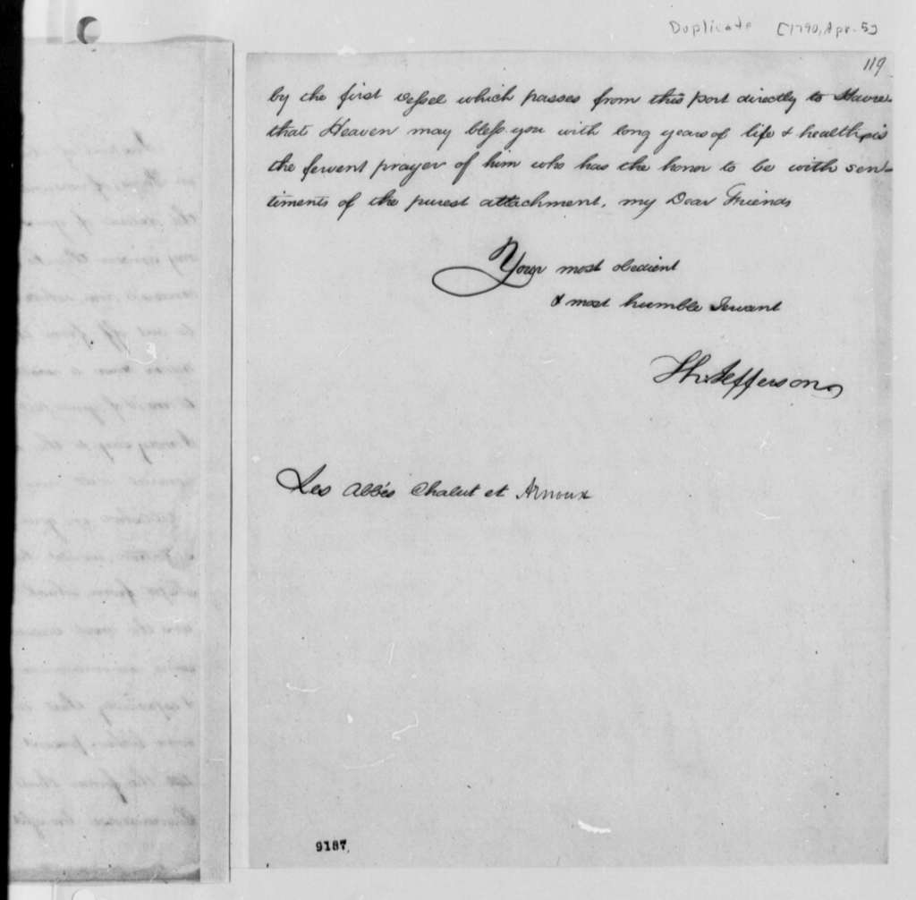Chalut & Arnoux to Thomas Jefferson, April 5, 1790, with Copy