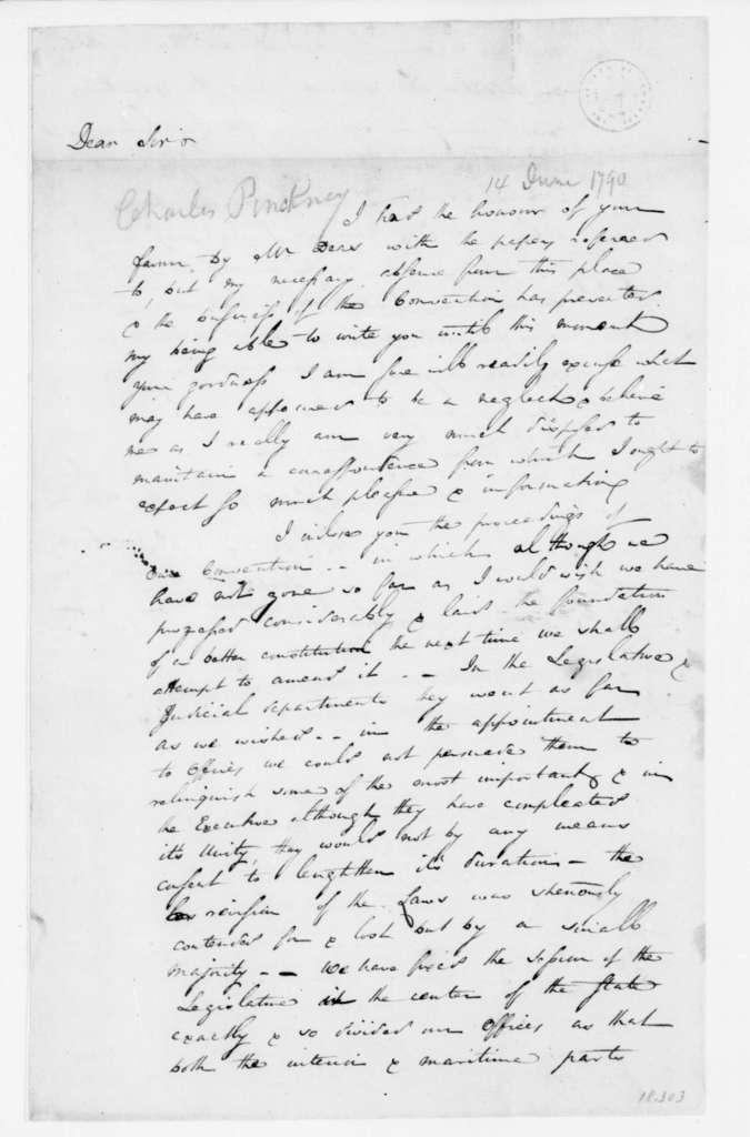 Charles Pinckney to James Madison, June 14, 1790.