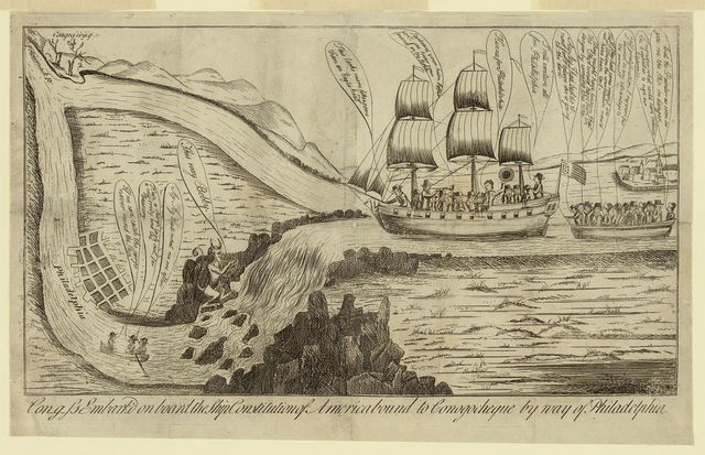 Con-g-ss embark'd on board the ship Constitution of America bound to Conogocheque by way of Philadelphia