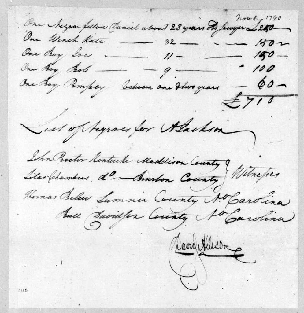 David Allison to Andrew Jackson, November 8, 1790