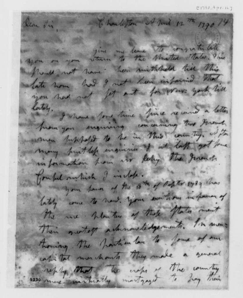 David Ramsay to Thomas Jefferson, April 12, 1790