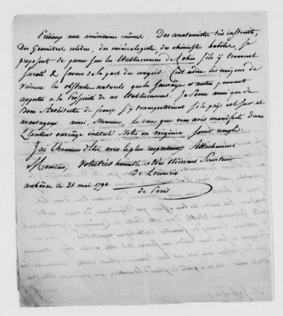 De Lormerie to Thomas Jefferson, May 21, 1790