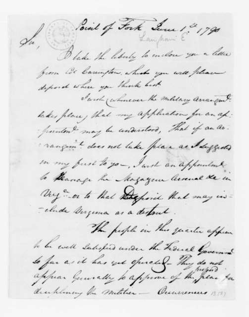E. Langham to James Madison, June 1, 1790.