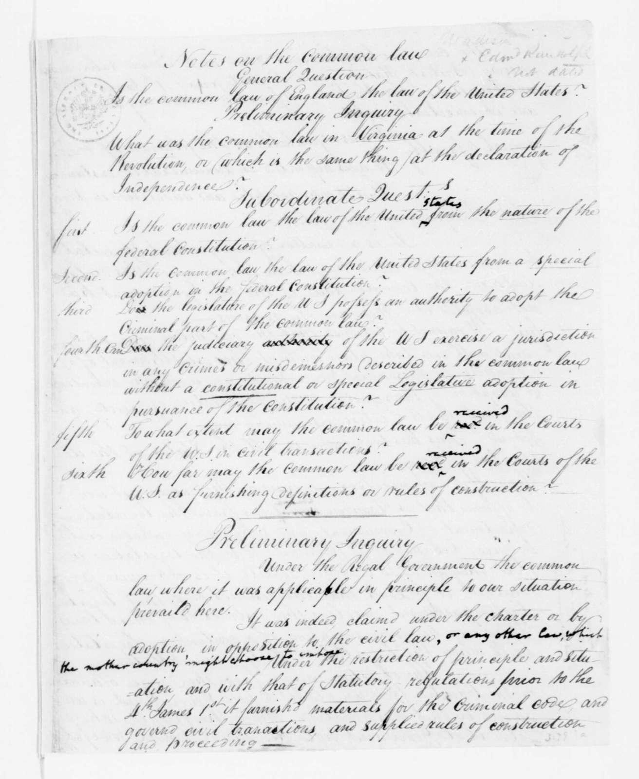 Edmund Pendleton. Notes, Common Law. 1790.