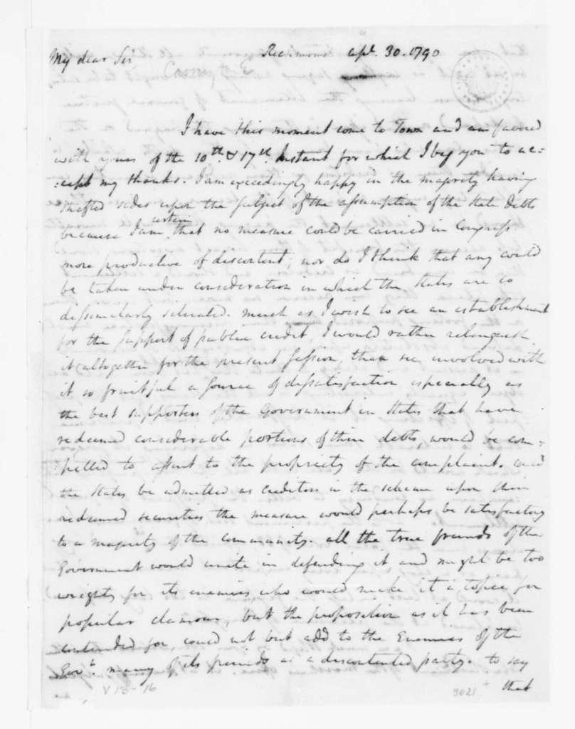 Edward Carrington to James Madison, April 30, 1790.
