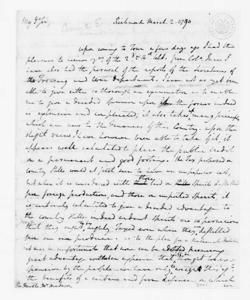 Edward Carrington to James Madison, March 2, 1790.