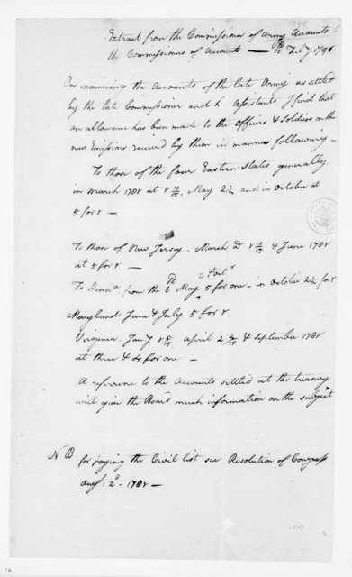 """Extract from the Commission of Army Accounts to the Commissioner of Accounts"", February 10, 1790."