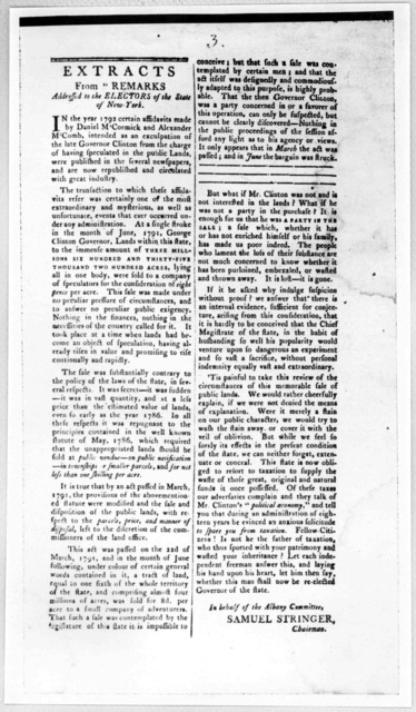 """Extracts from """"Remarks addressed to the electors of the State of New York. In the year 1792 certain affidavits made by Daniel M'Cormick and Alexander M'Comb, intended as an exculpation of the late Governor Clinton from the charge of having speci"""
