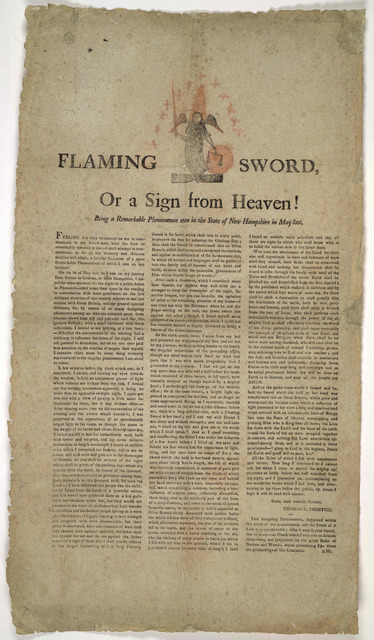 Flaming sword, or a sign from Heaven! Being a remarkable phenomenon seen in the State of New Hampshire in May last. [179-?].