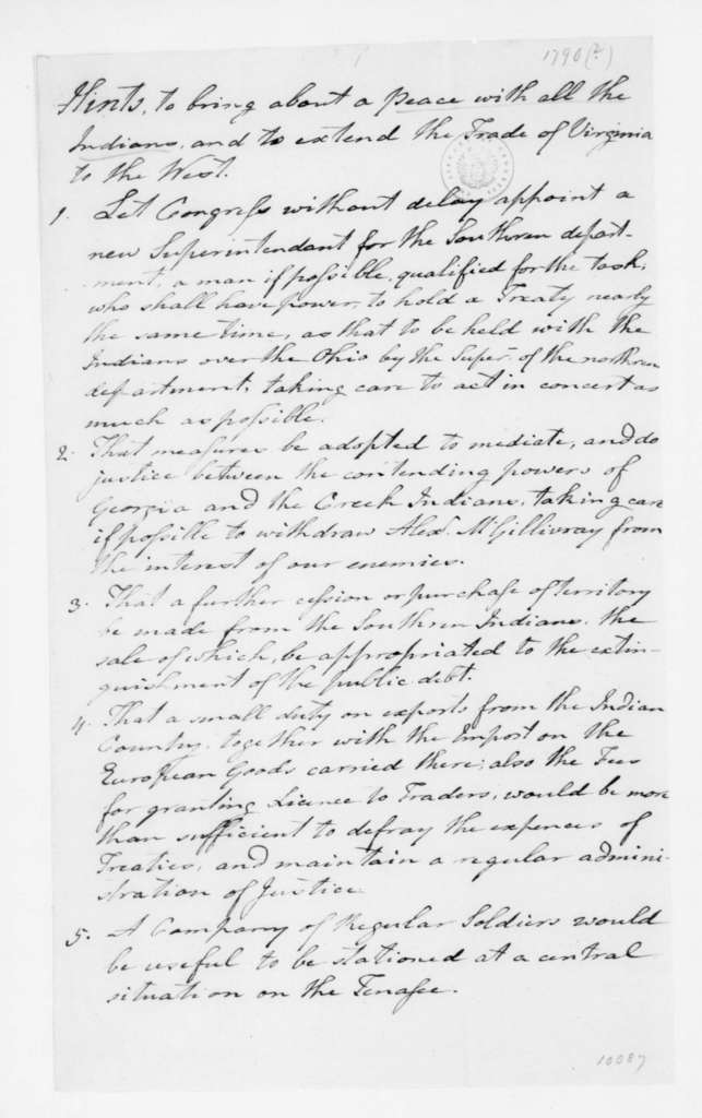 """Francis Dade. Suggestions for """"peace with all the Indians, and to extend the Trade of Virginia to the West"""". 1790."""