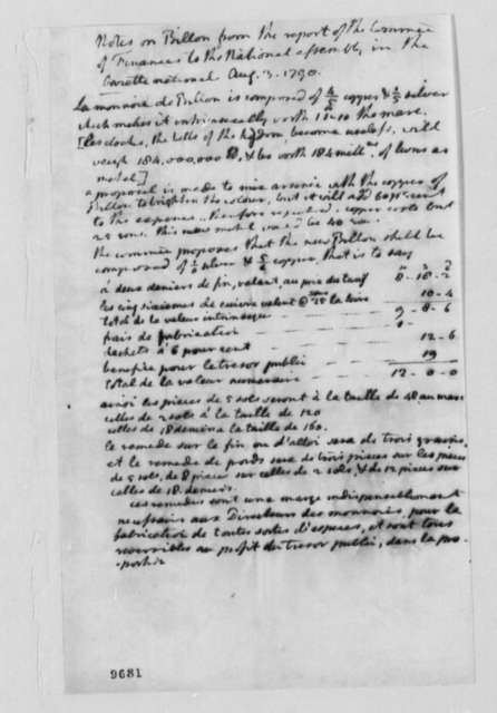French National Assembly, August 3, 1790, Notes on Finance