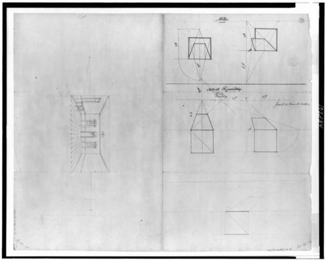 [Geometrical diagrams relating to perspective methods by various authors; one-point perspective sketch of interior]