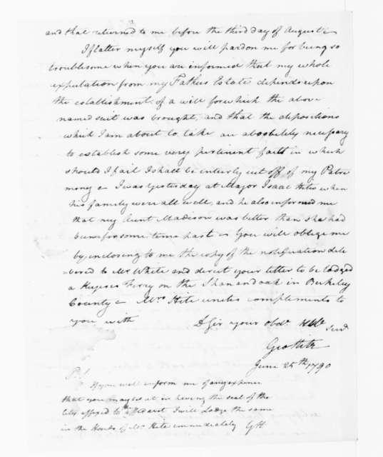 George Hite to James Madison, June 25, 1790.