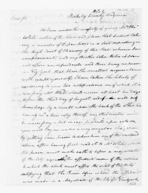 George Hite to James Madison, June 25, 1790.