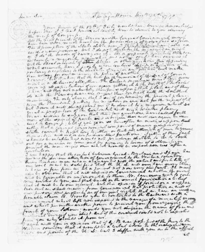 George Nicholas to James Madison, December 31, 1790.