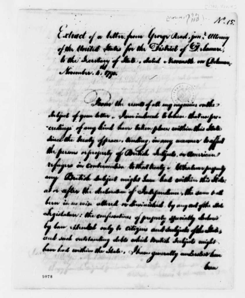 George Read, Jr. to Thomas Jefferson, November 4, 1790