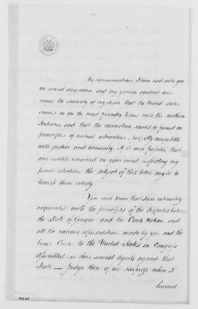 George Washington Papers, Series 4, General Correspondence: Benjamin Hawkins to Alexander McGillivray, March 6, 1790
