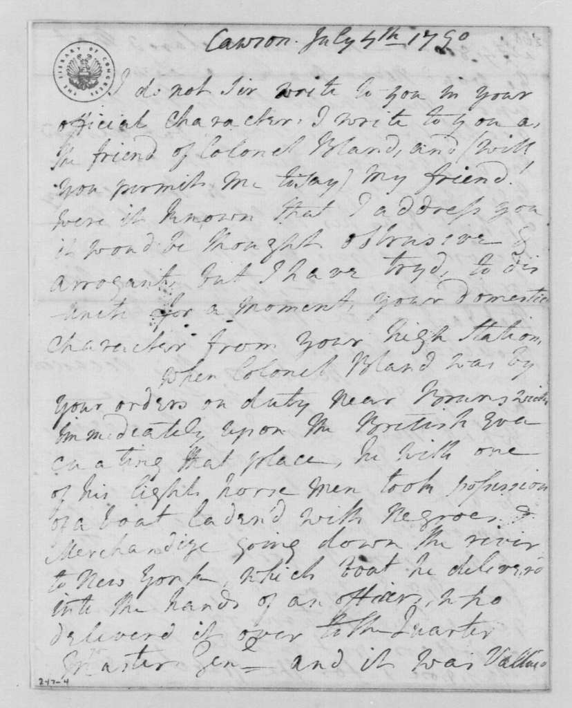 George Washington Papers, Series 4, General Correspondence: Martha D Bland to George Washington, July 4, 1790