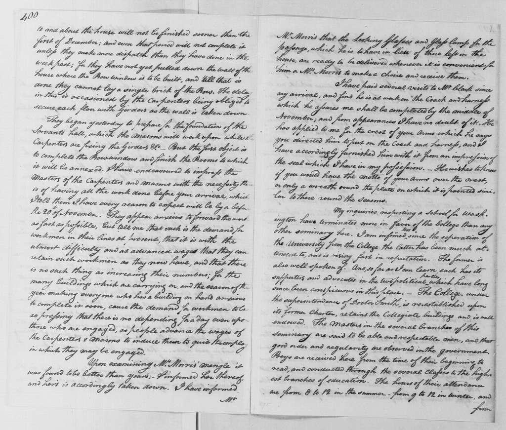 George Washington Papers, Series 4, General Correspondence: Tobias Lear to George Washington, October 24, 1790