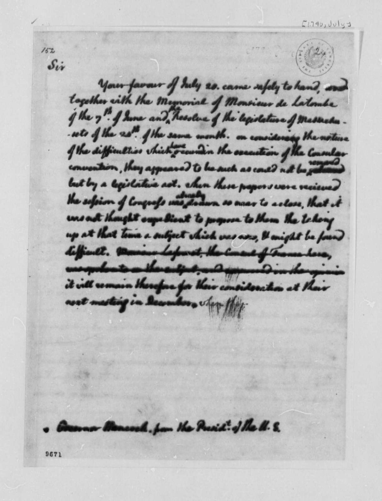 George Washington to John Hancock, July 1790