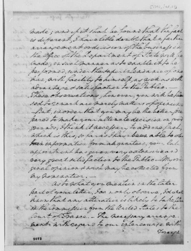 George Washington to Thomas Jefferson, January 21, 1790