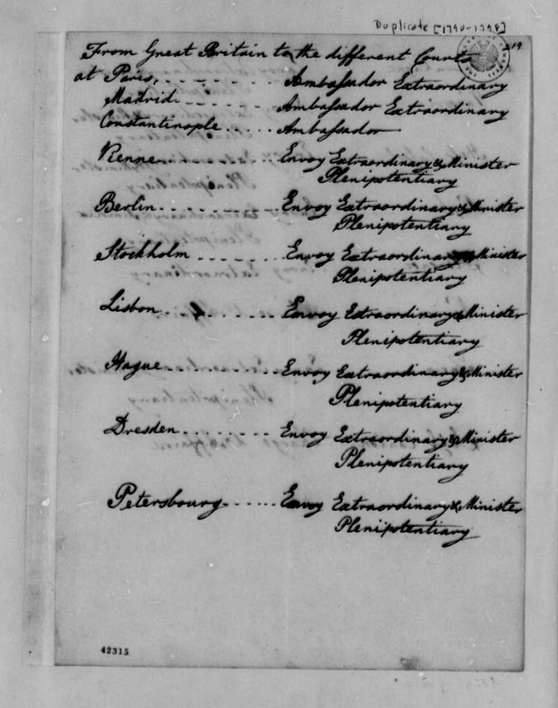 Great Britain, 1790-1798, List of Diplomatic Representatives Exchanged between the Governments of Europe and Great Britain