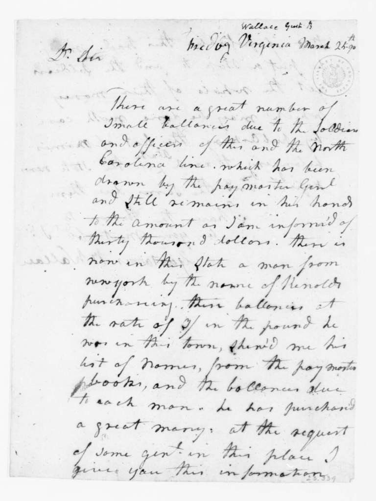 Gustavus B. Wallace to James Madison, March 25, 1790.