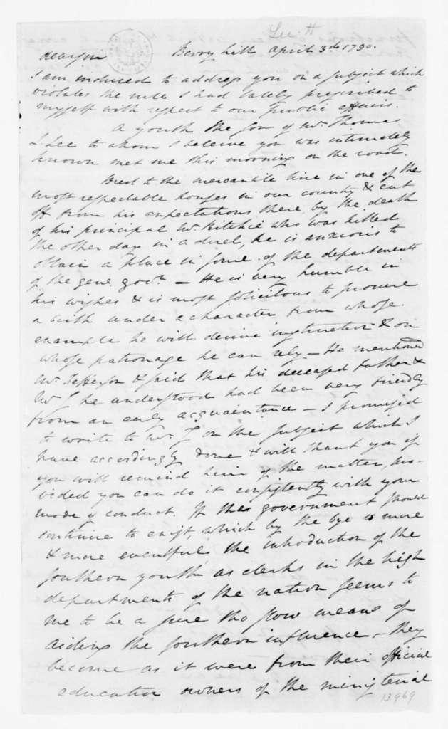 Henry Lee to James Madison, April 3, 1790.