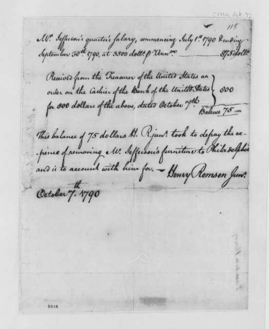 Henry Remsen, Jr., October 7, 1790, Thomas Jefferson's Salary