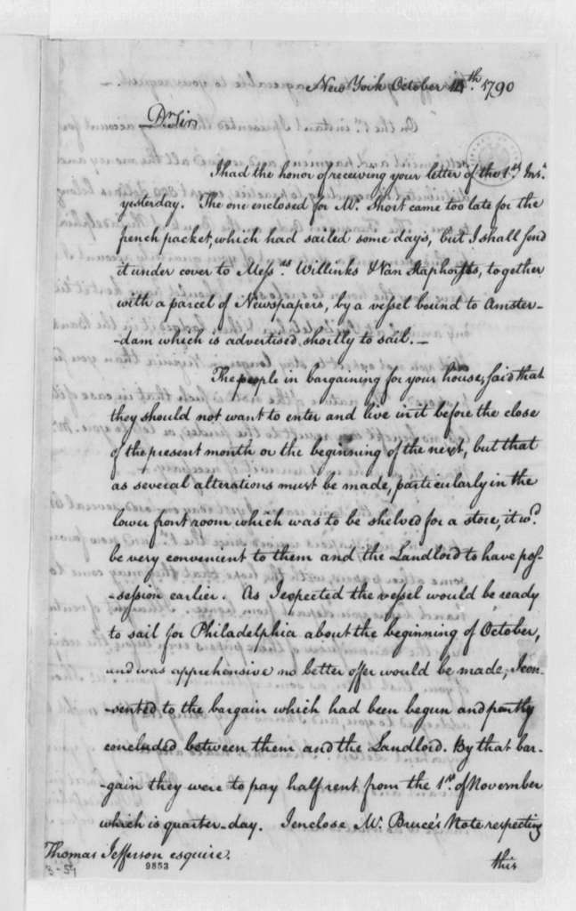 Henry Remsen, Jr. to Thomas Jefferson, October 14, 1790