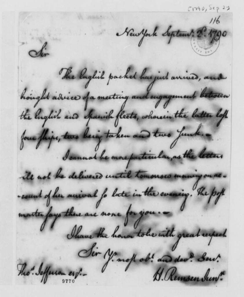 Henry Remsen, Jr. to Thomas Jefferson, September 2, 1790