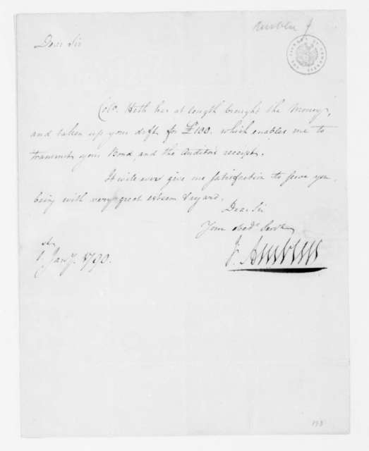 Jacquelin Ambler to James Madison, January 1, 1790.