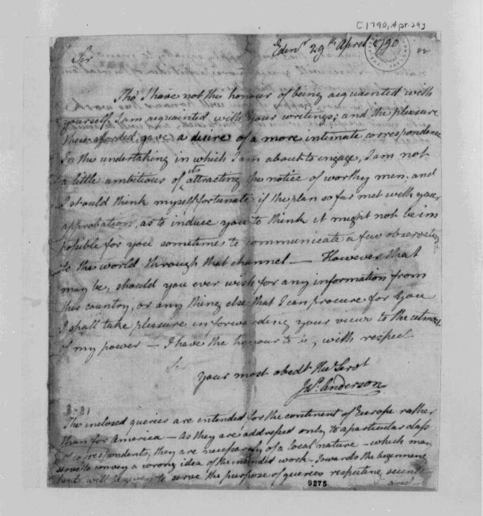 James Anderson to Thomas Jefferson, April 29, 1790