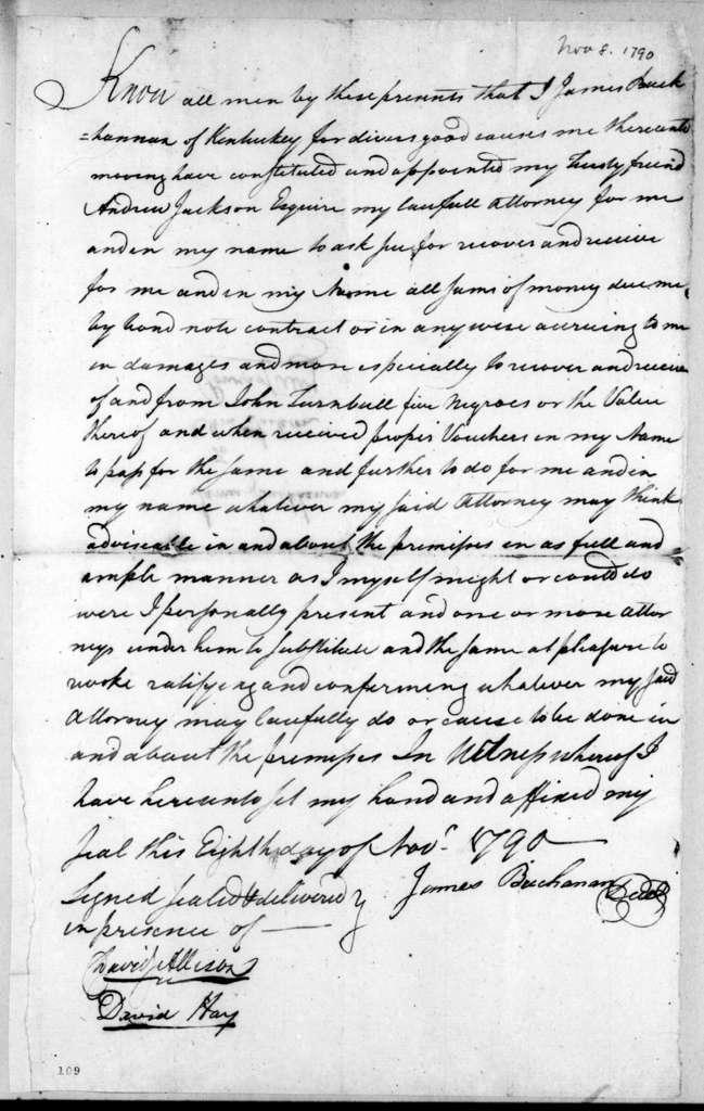 James Buchanan to Andrew Jackson, November 8, 1790