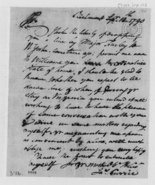 James Currie to Thomas Jefferson, September 13, 1790