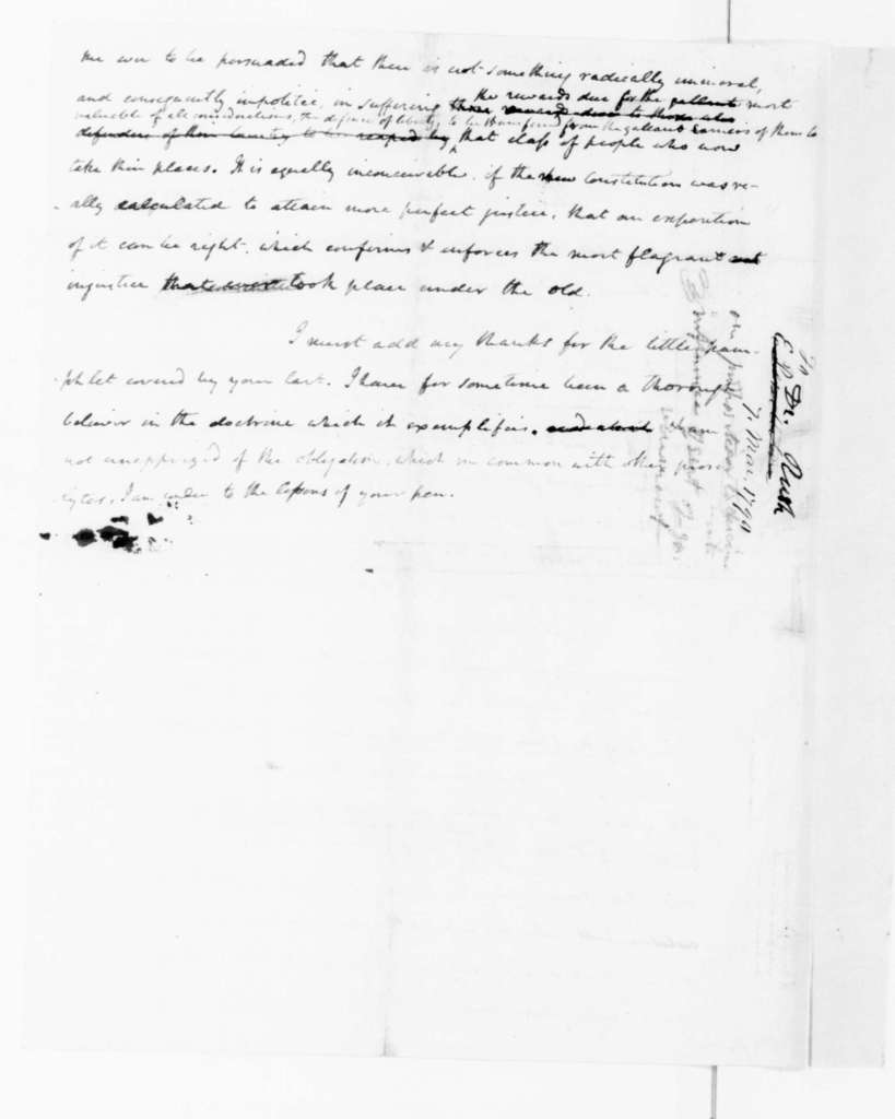 James Madison to Benjamin Rush, March 7, 1790. (Marginal notes by Madison).