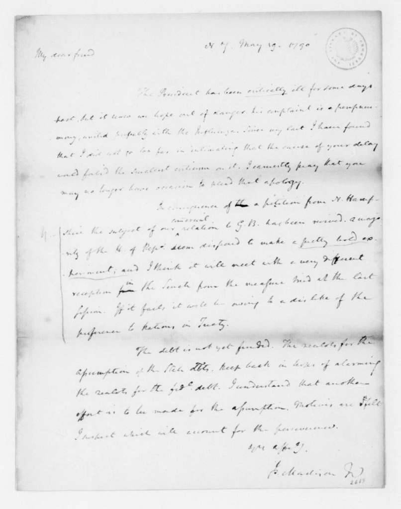 James Madison to Edmund Randolph, May 19, 1790.