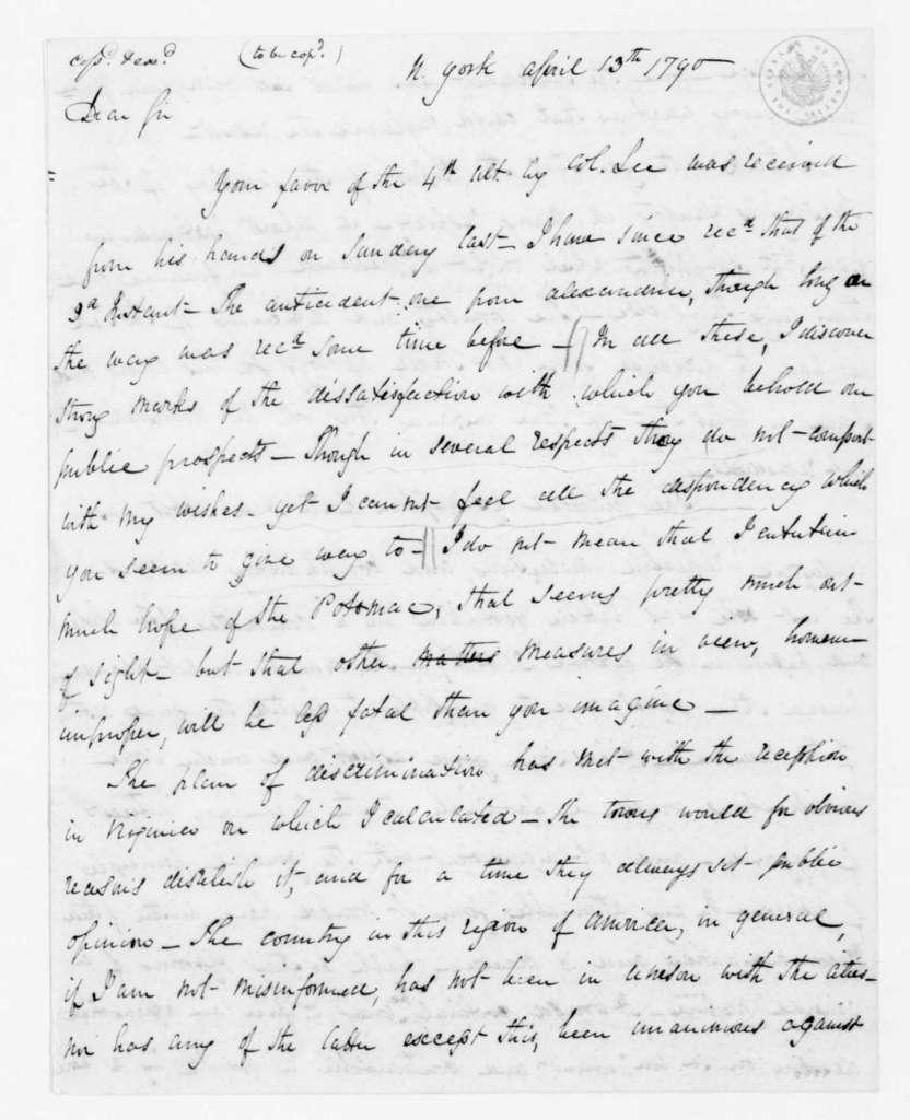 James Madison to Henry Lee, April 13, 1790.