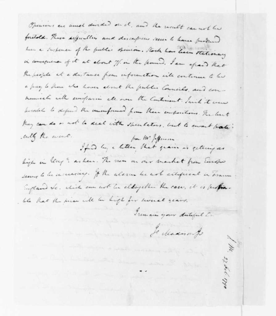 James Madison to James Madison Sr., February 27, 1790.