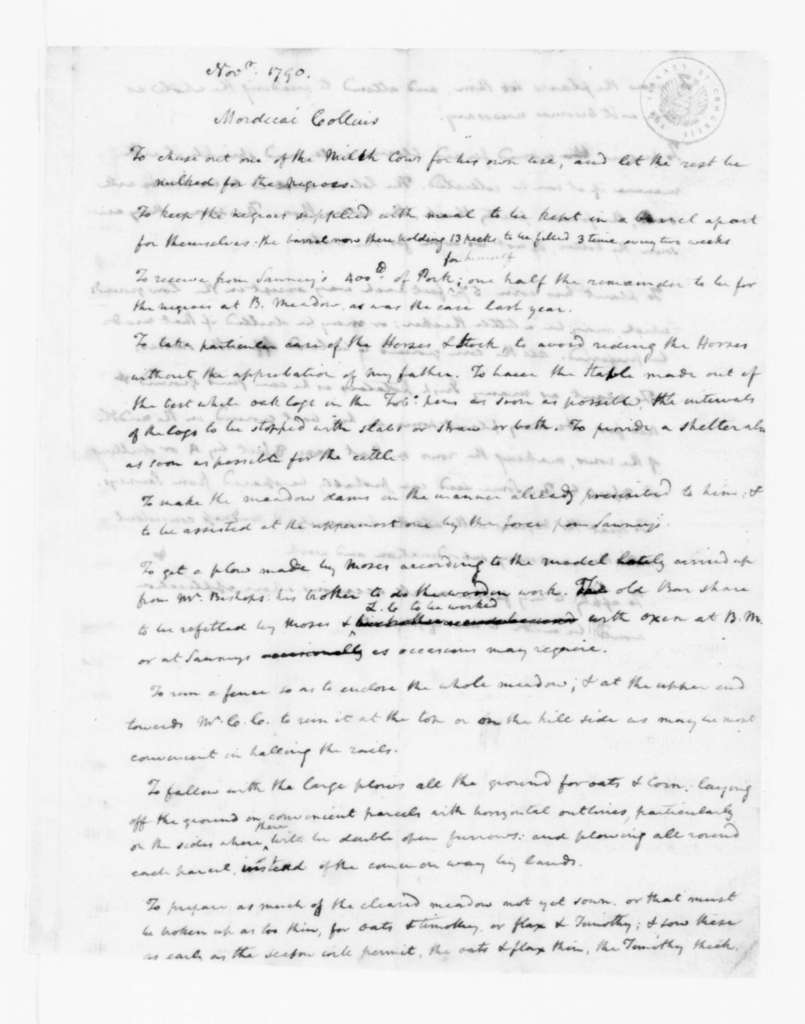 James Madison to Mordecai Collins, Lewis Collins, and Sawney (Slave), November, 1790. Instructions.