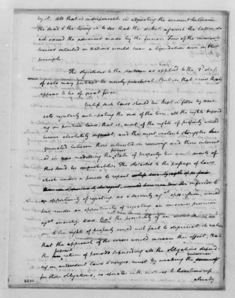 James Madison to Thomas Jefferson, February 4, 1790, Response to Jefferson's Arguments that The Earth Belongs to the Living