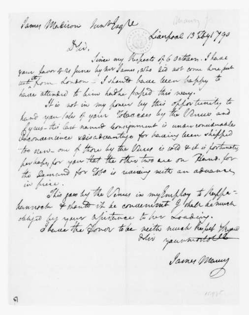James Maury to James Madison, February 13, 1790.