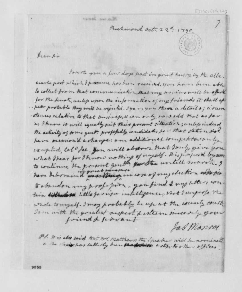 James Monroe to Thomas Jefferson, October 22, 1790