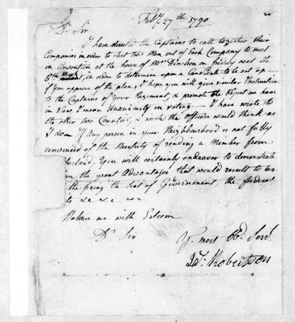 James Robertson to Robert Hays, February 27, 1790