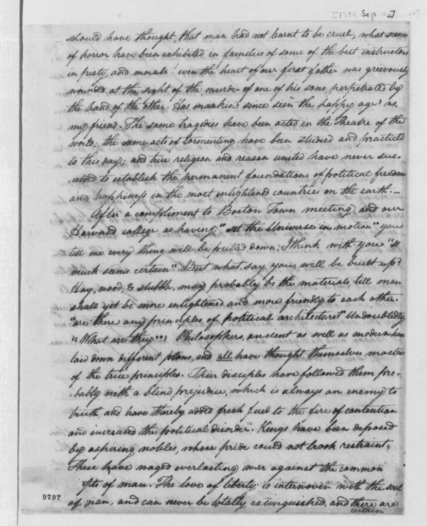 John Adams to Samuel Adams, September 12, 1790, with Letter from Samuel Adams to John Adams, October 4