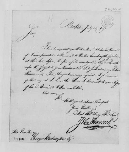 John Hancock to George Washington, July 20, 1790